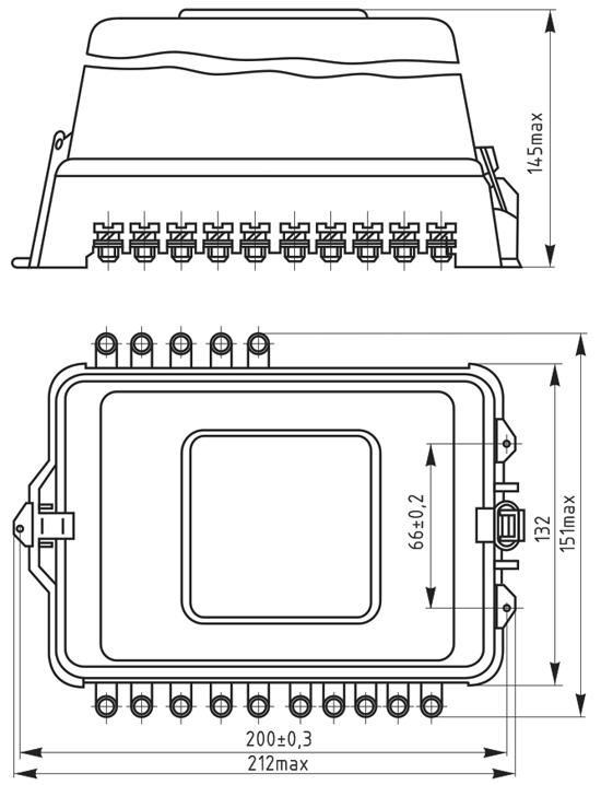 Габаритные и установочные размеры реле для переднего присоединения